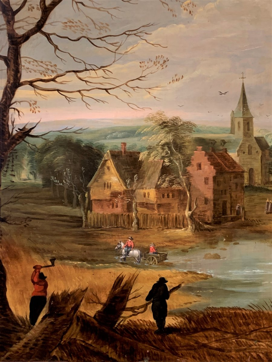 Flemish School Of The Early 17th Century : Les Bucherons, Oil On Copper-photo-2