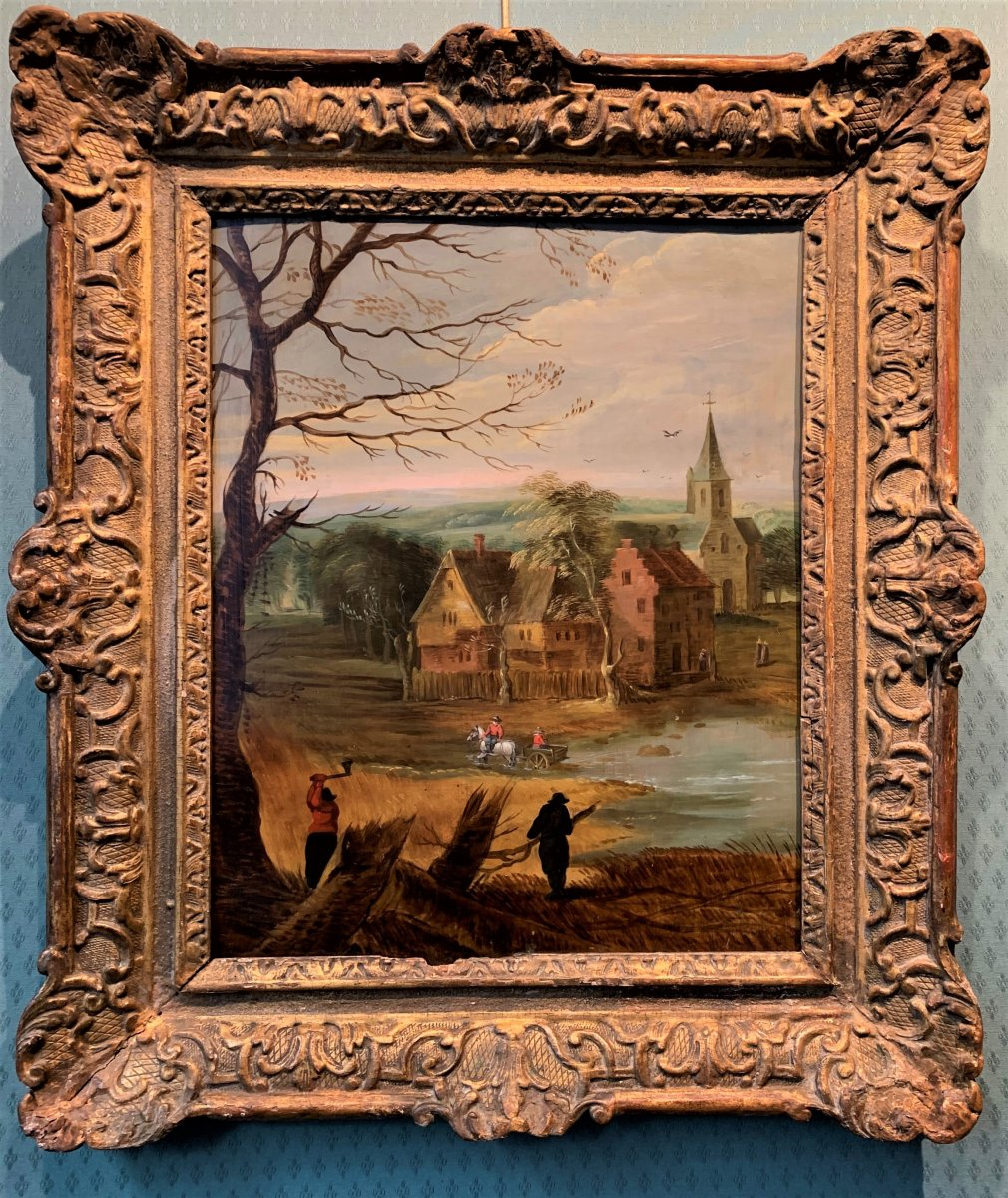 Flemish School Of The Early 17th Century : Les Bucherons, Oil On Copper
