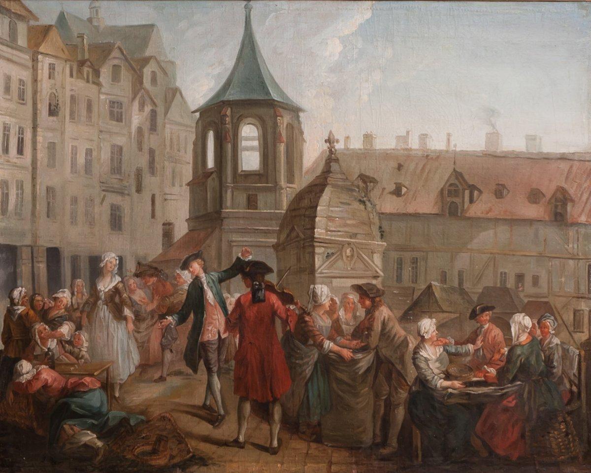 PARIS le Carreau des Halles : Les écosseuses de pois vers 1750  Étienne Jeaurat (1699-1789)-photo-2