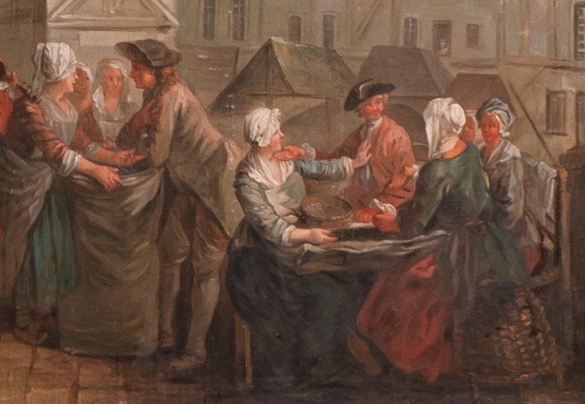 PARIS le Carreau des Halles : Les écosseuses de pois vers 1750  Étienne Jeaurat (1699-1789)-photo-4