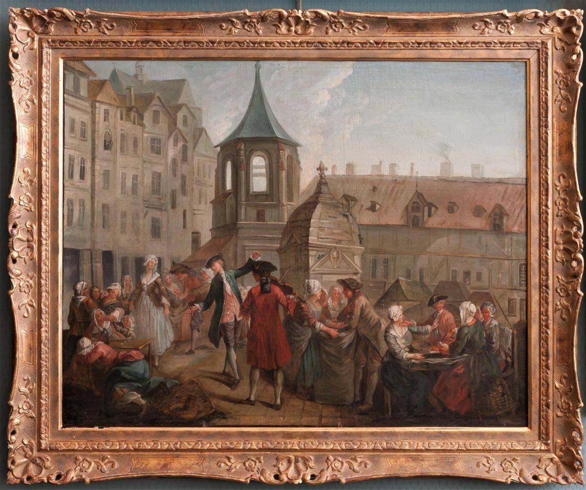 PARIS le Carreau des Halles : Les écosseuses de pois vers 1750  Étienne Jeaurat (1699-1789)