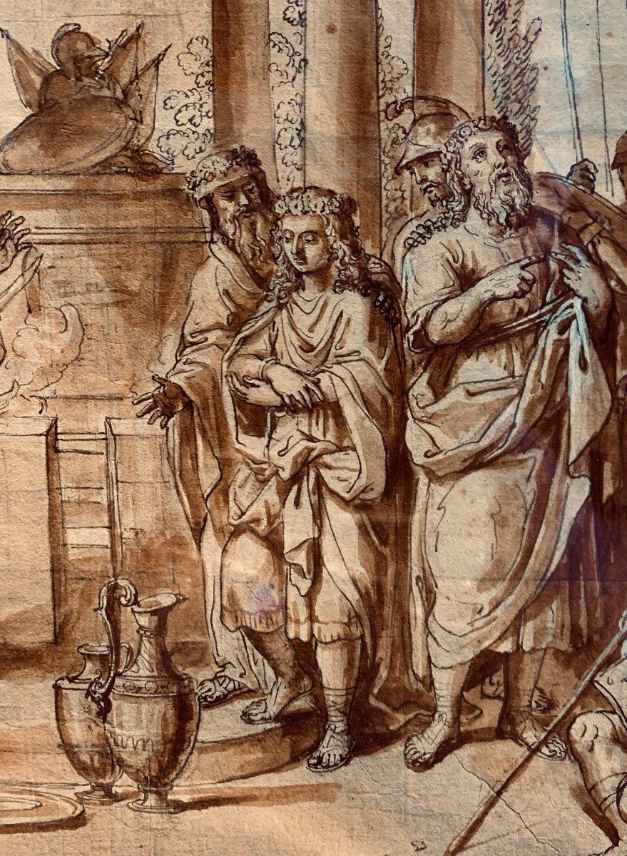 Ecole romaine du XVIIème siècle : la circoncision d'Ismaël le jour du Kippour-photo-1