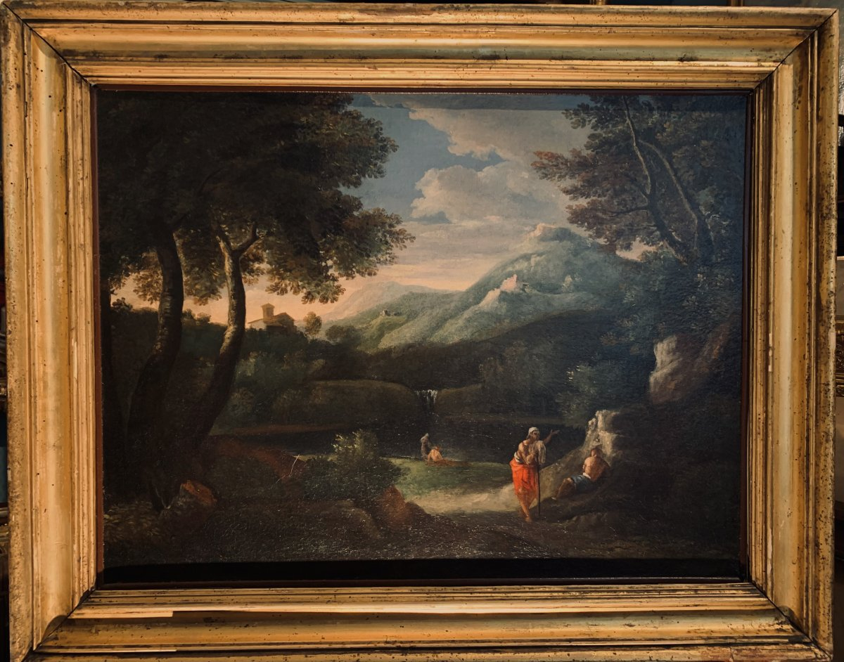 Italian Animated Landscape Attributed To Gaspard Dughet 1615-1675)