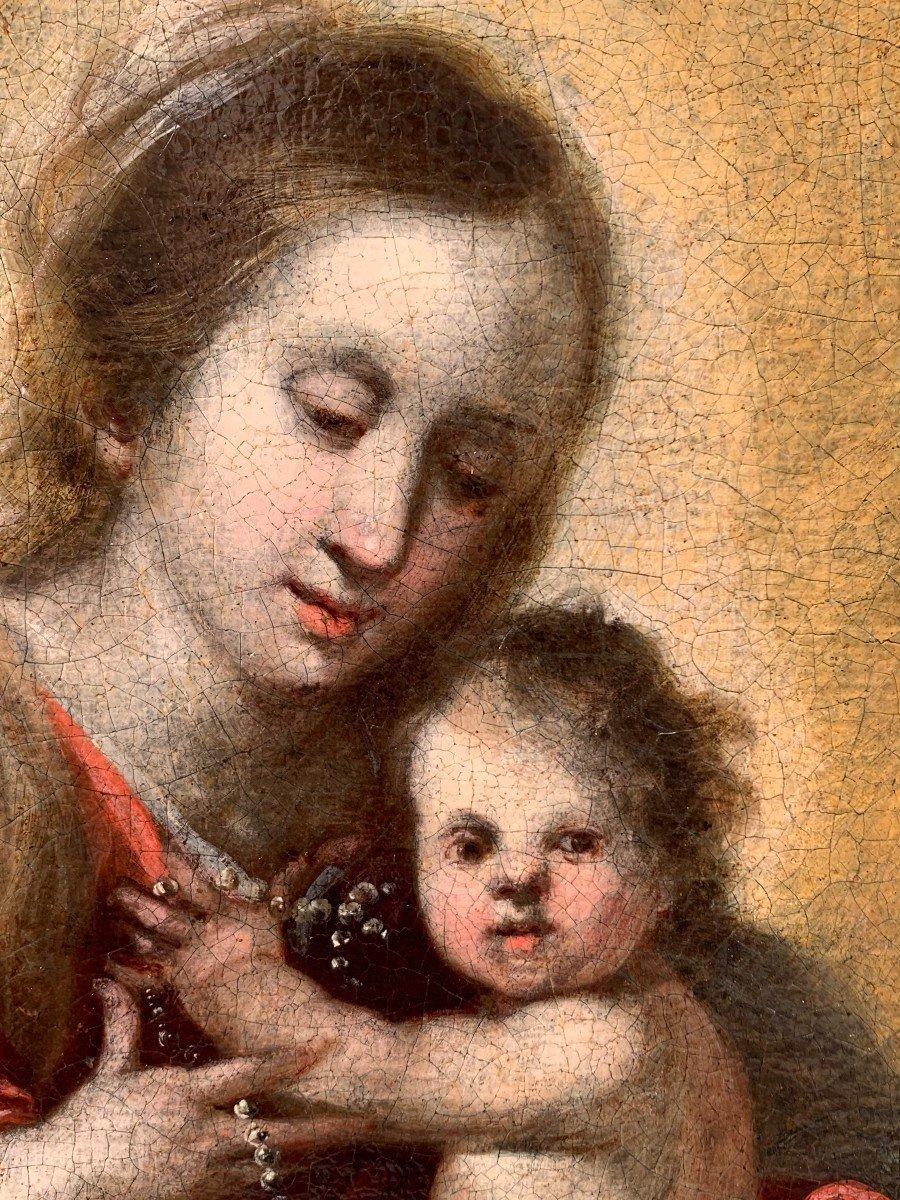Vierge à l'Enfant par Francisco Meneses OSORIO Ecole ESPAGNOLE XVIIe siècle-photo-2