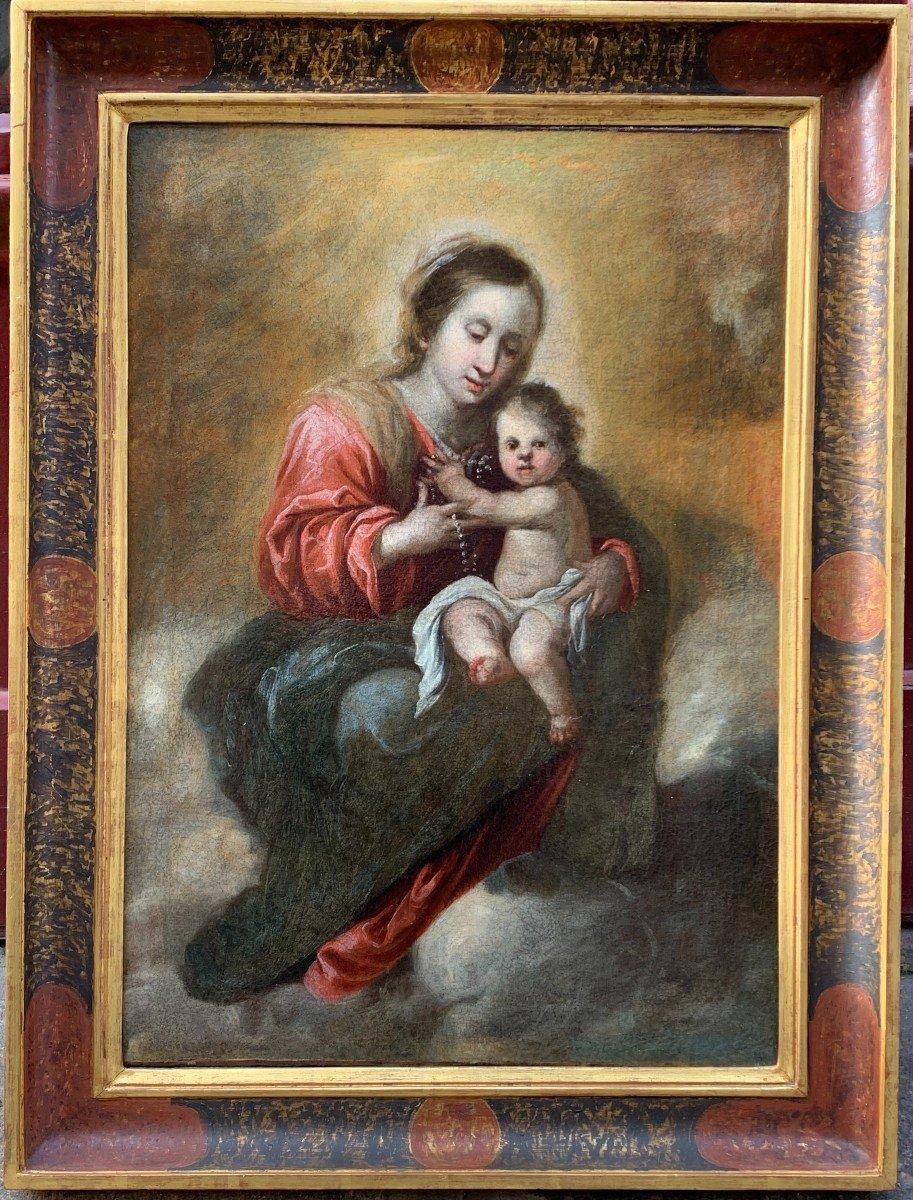Vierge à l'Enfant par Francisco Meneses OSORIO Ecole ESPAGNOLE XVIIe siècle