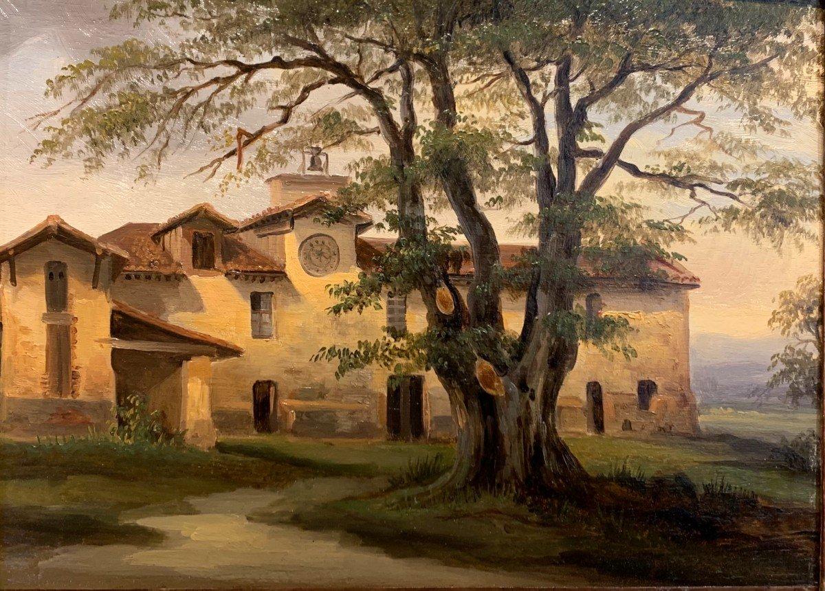 Monastère provencal - Ecole française vers 1830  Huile sur panneau