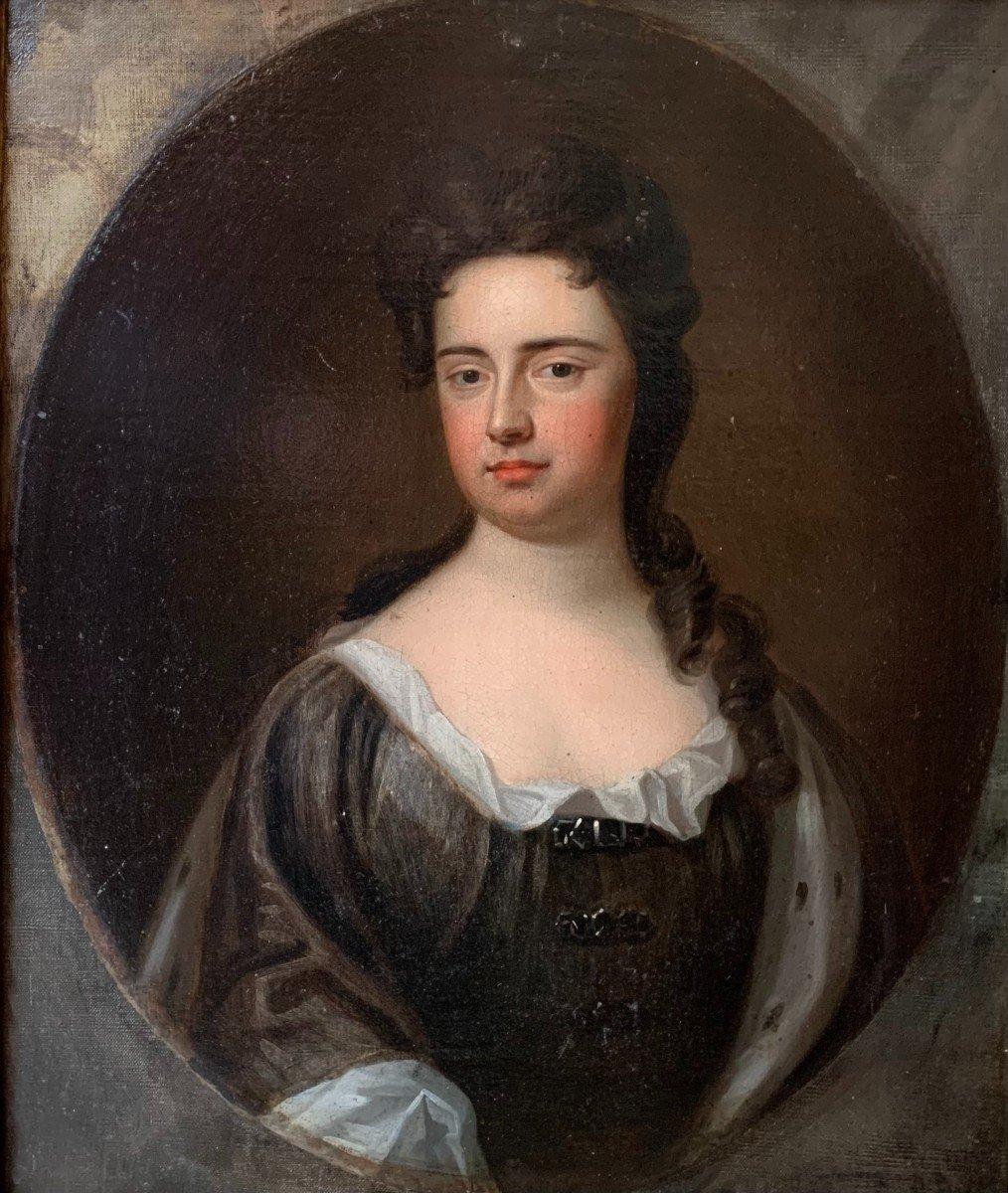 La Reine  de Grande Bretagne Anne Stuart  (1665-1714) Huile sur toile attribuée à G. KNELLER-photo-2