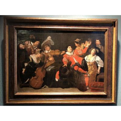 Scène de genre - Huile sur toile Ecole flamande datée 1658