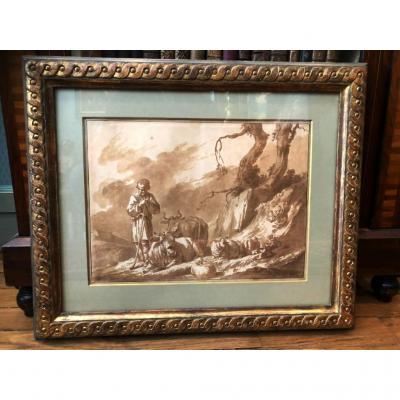 Scène Pastorale - Plume et encre lavis XVIIIème siècle