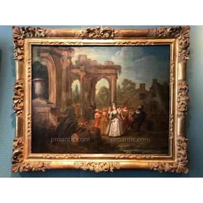 Fête galante. Franz Breydel datée 1747 et signée