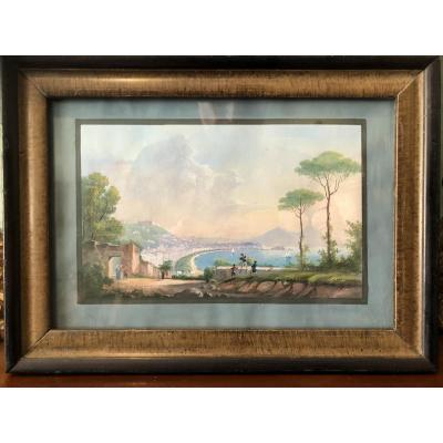 Petite gouache napolitaine Golfe de Naples milieu XIXème