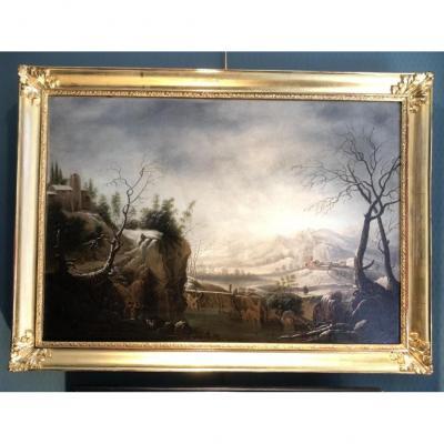 Paysage de neige - Attribué à Jules-César-Denis VAN LOO fin XVIIIème siècle