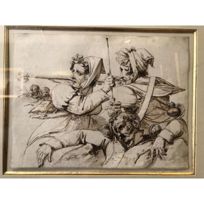 Scène de combat en Algérie vers 1830 - Plume et encre brune