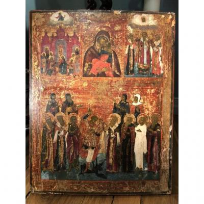 Russian Icon On Two Registers, Late 18th Century