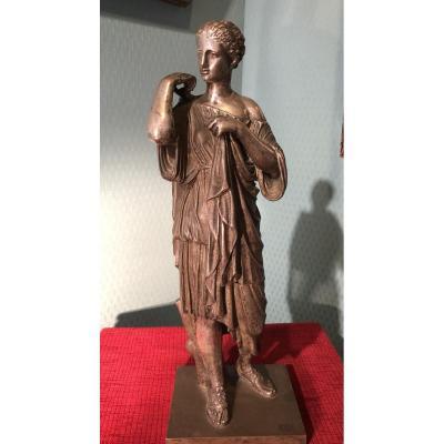 Statue de Diane de Gabies Bronze argenté XIXème siècle