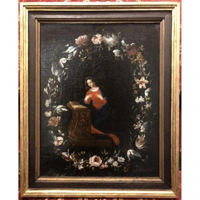 Vierge dans une guirlande de fleurs - Huile sur toile 18ème
