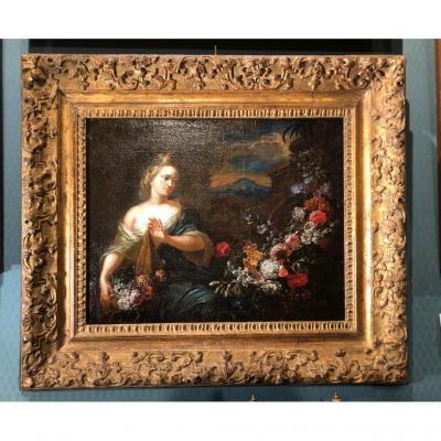Jeune femme à la guirlande de fleurs - Verbruggen  1664-1730