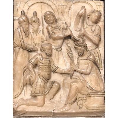 Albâtre de Malines - Couronnement d'épines signé début XVIIe