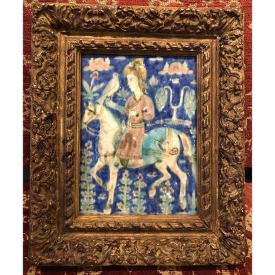 Carreau de céramique Iran XVIème siècle cavalier et faucon
