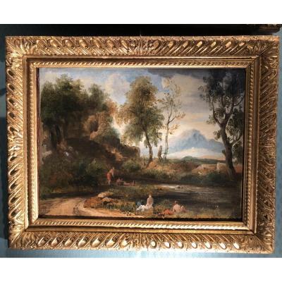 Paysage animé attribué à L.J. Sarrazin de Belmont vers 1830