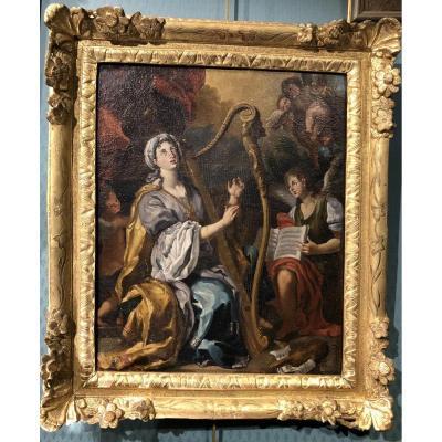 Sainte Cécile -  Ecole italienne vers 1700 - huile sur toile