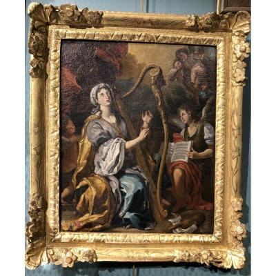 Sainte Cécile - Italian School Around 1700 - Oil On Canvas