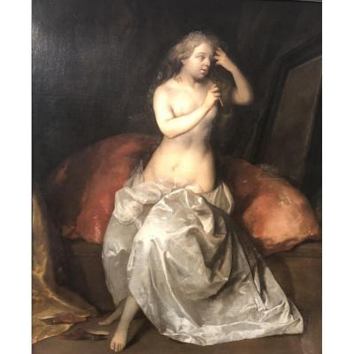 Dame à sa toilette,  attribué à Reinier de La HAYE (1640-  vers 1695)