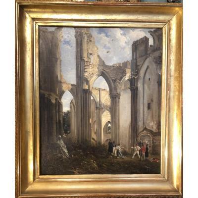 Alexandre-Marie COLIN : Duel dans les Ruines de l'Abbaye de Saint Bertin de SAINT-OMER