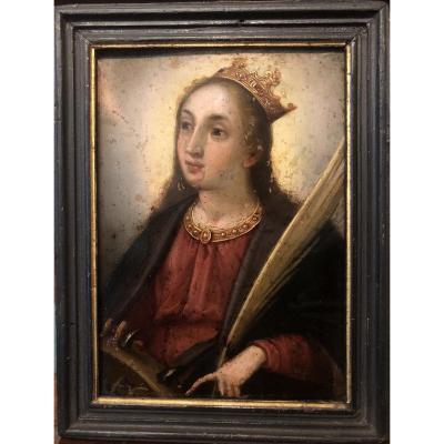 Sainte Catherine d'Alexandrie, Ecole Flamande XVIIe, Huile Sur Cuivre