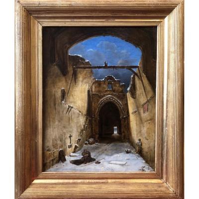 Moine dans un monastère en ruine signée Adeline 1823 - Ecole Française