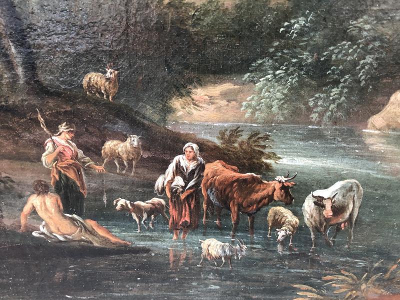 Huile Sur Toile Attribuée à Jean-baptiste Claudot (1733 - 1805), Paysage Animé-photo-2