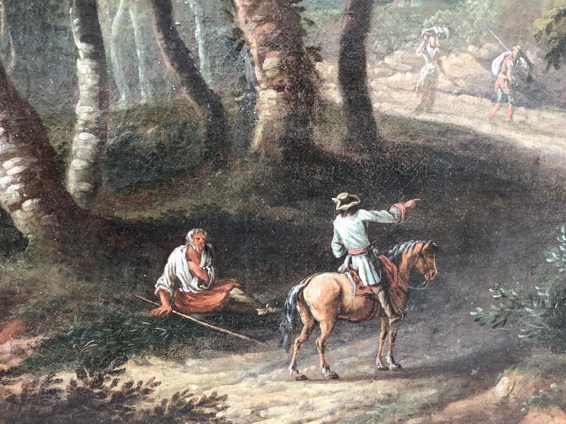 Huile Sur Toile Attribuée à Jean-baptiste Claudot (1733 - 1805), Paysage Animé-photo-4