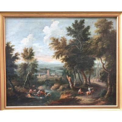 Huile Sur Toile Attribuée à Jean-baptiste Claudot (1733 - 1805), Paysage Animé