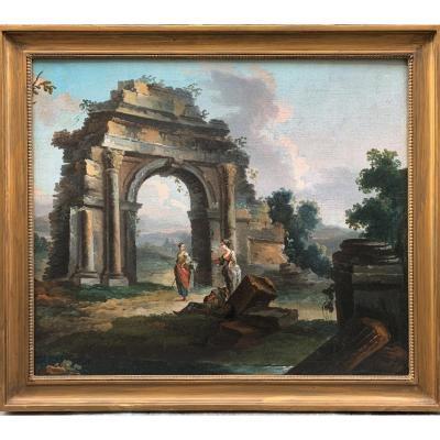 Capriccio du milieu du XVIIIe siècle Ecole vénitienne : ruines animées