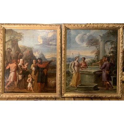Paire de toiles : scènes de la vie de Jacob, Rachel et Léa, Ecole française XVIIe siècle