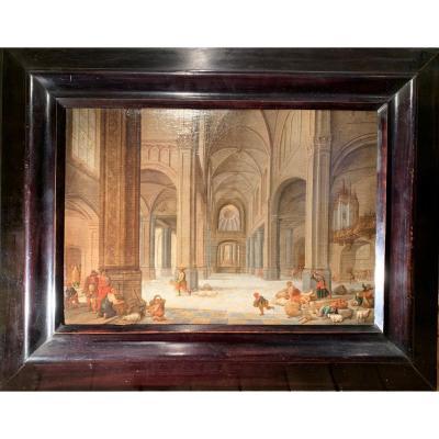 Jésus chassant les marchands du Temple – Attribué à Hendrick II van Steenwyck (1580 – 1649)