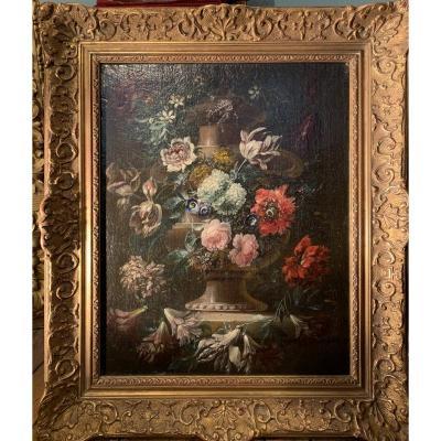 Flower Spur On Sculpted Vase - Flemish School (antwerp) XVIIe Gp Verbruggen (attr)