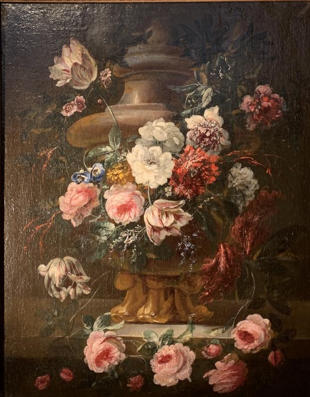 Gerbe de fleurs sur vase sculpté - Ecole flamande (Anvers) XVIIE G.P. Verbruggen (attr)-photo-2
