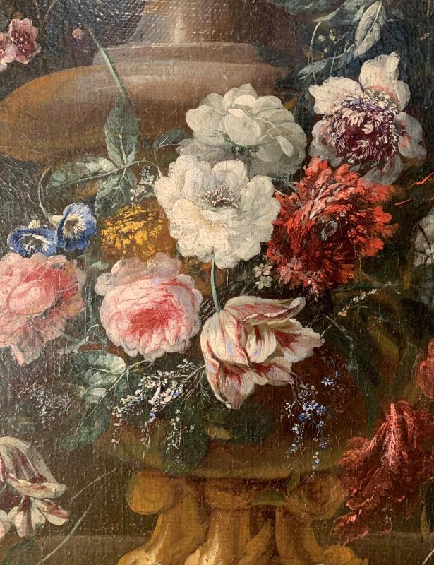 Gerbe de fleurs sur vase sculpté - Ecole flamande (Anvers) XVIIE G.P. Verbruggen (attr)-photo-3