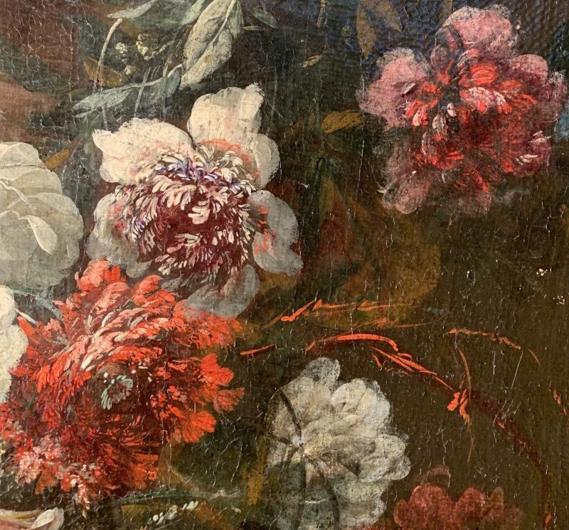 Gerbe de fleurs sur vase sculpté - Ecole flamande (Anvers) XVIIE G.P. Verbruggen (attr)-photo-4
