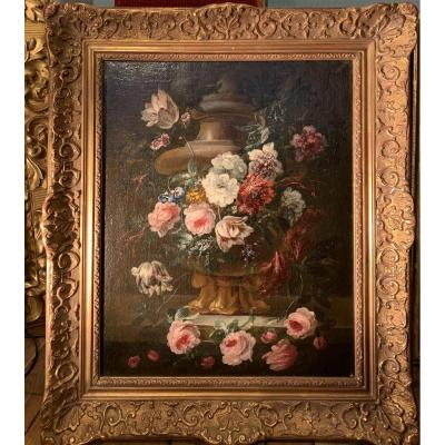 Flower Sheaf On Carved Vase - Flemish School (antwerp) XVIIth Gp Verbruggen (attr)