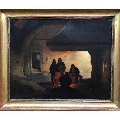 Capucins autour d'un feu dans une forge désaffectée - entourage de Granet