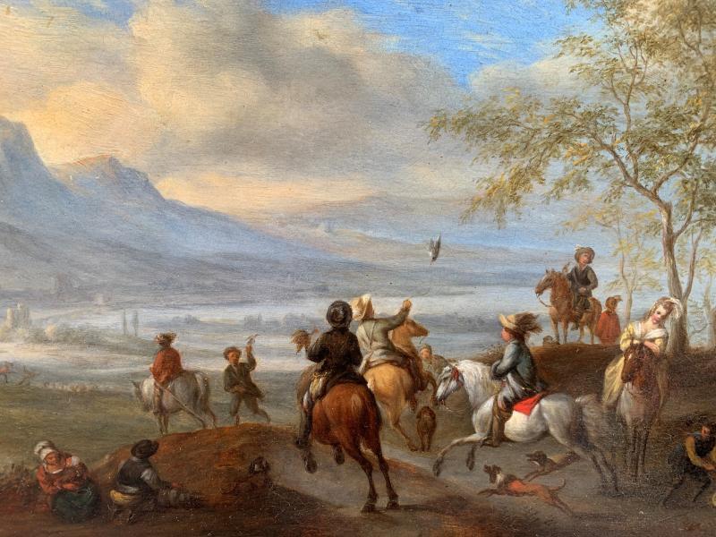 Scène de Chasse au Faucon dans un paysage animé Ecole Hollandaise XVIIe Siècle-photo-3