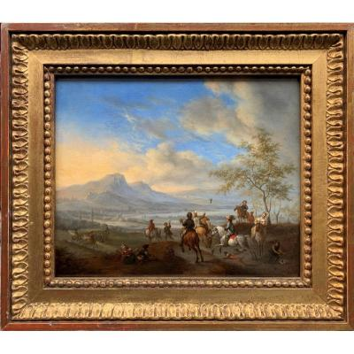 Falcon Hunting Scene In A Lively Landscape Seventeenth Century Dutch School