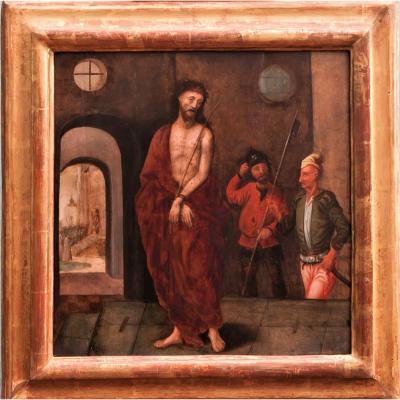 École Flamande vers 1540. Entourage de Jérome Bosch, Christ au Roseau, Panneau de chêne