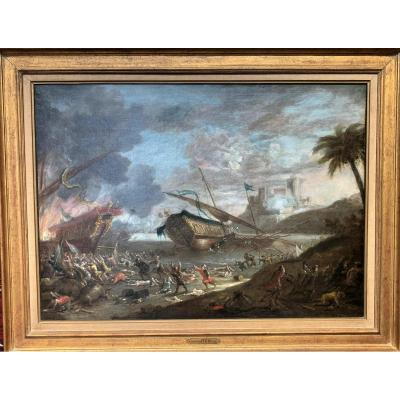 J. Peeters Victory Of Christians Over The Ottomans During Candie's War Signed Dated 1654