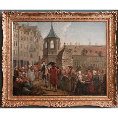 Paris  Carreau Des Halles : The Pea Scotters Around 1750 By Étienne Jeaurat