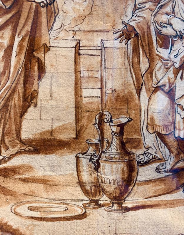 Ecole romaine du XVIIème siècle : la circoncision d'Ismaël le jour du Kippour-photo-3