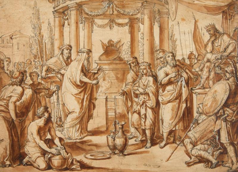 Ecole romaine du XVIIème siècle : la circoncision d'Ismaël le jour du Kippour-photo-2