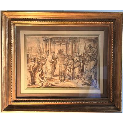 XVIIth Century Roman School: The Circumcision Of Ishmael On The Day Of Kippur